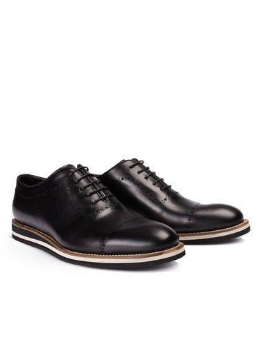 Deery Doğal Dana Derisi N Şerit Detaylı Günlük Erkek Ayakkabı Siyah